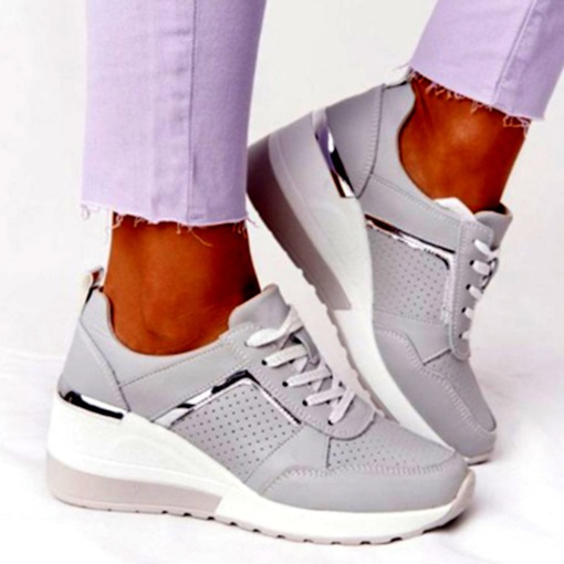 Cross Strap Round Toe Lace-Up PU Sneakers