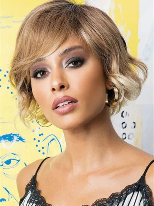 African American Women's Bob Style Wavy Human Hair Wigs With Bangs 120% 12 Inches Wigs
