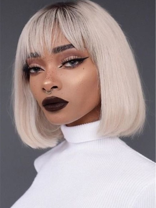 White Short Bob Hairstyles Straight Synthetic Hair Capless Wigs With Bangs 130% 14 Inches Wigs
