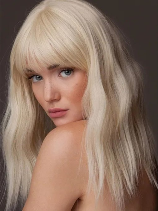 Women's Long Wavy Hairstyles Blonde Color Capless Wigs With Bangs 120% 18 Inches Wigs