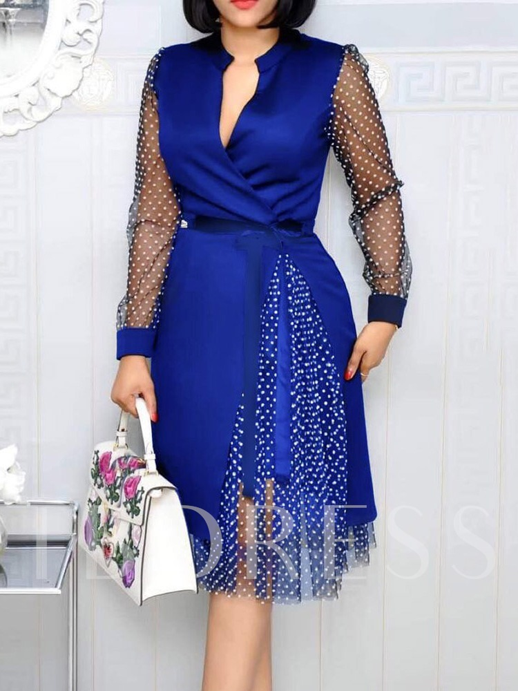 Mid-Calf Long Sleeve Lace-Up Pullover Women's Dress