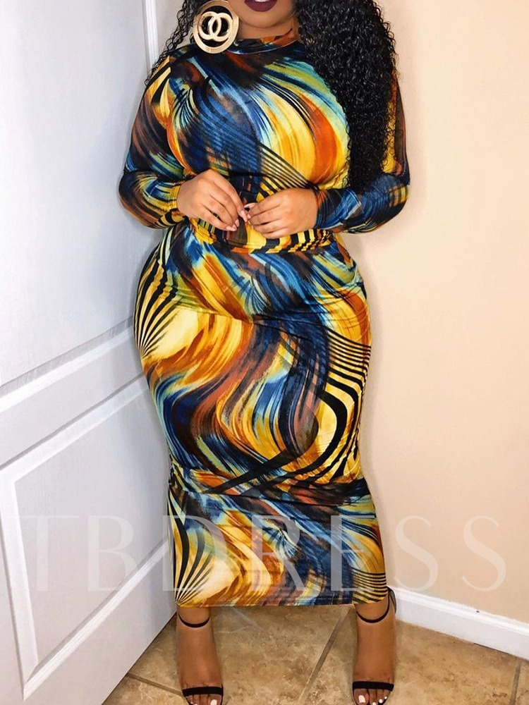 Patchwork Stand Collar Ankle-Length Long Sleeve Stripe Women's Dress