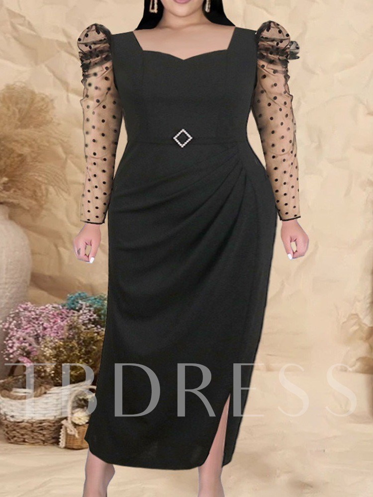 Plus Size Patchwork Long Sleeve Ankle-Length Polka Dots Women's Dress