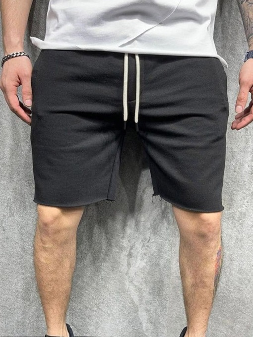 Straight Lace-Up Slim Shorts Summer Men's Casual Pants