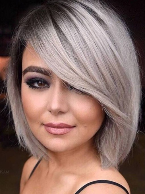 Side Part Gray Bob Hairstyle Natural Straight Human Hair Capless Women 10 Inches 120% Wigs