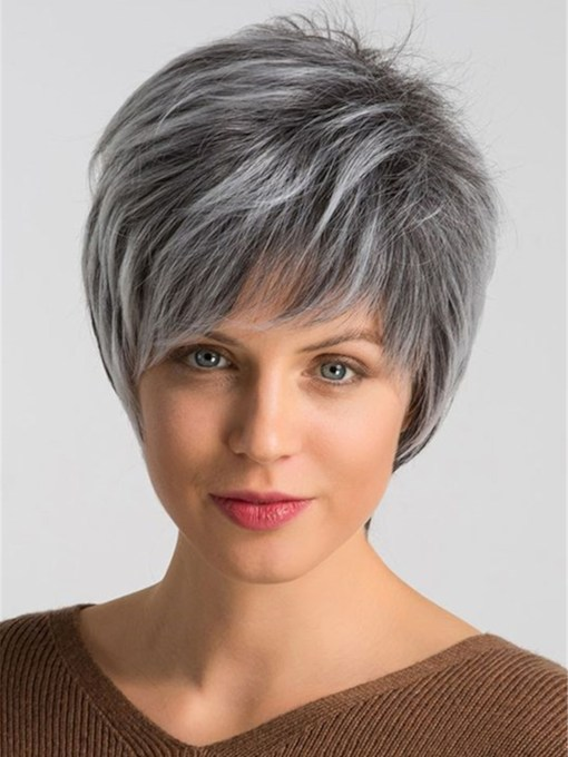 Grey Layered Short Hairstyle Human Straight Capless Women's 8 Inches 120% Wigs