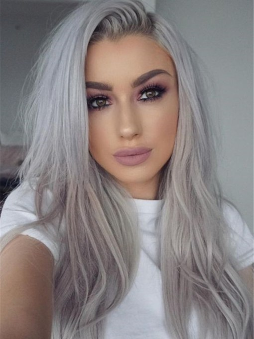Long Natural Straight Hairstyles Gray Human Hair Capless Women 18 Inches 120% Wigs
