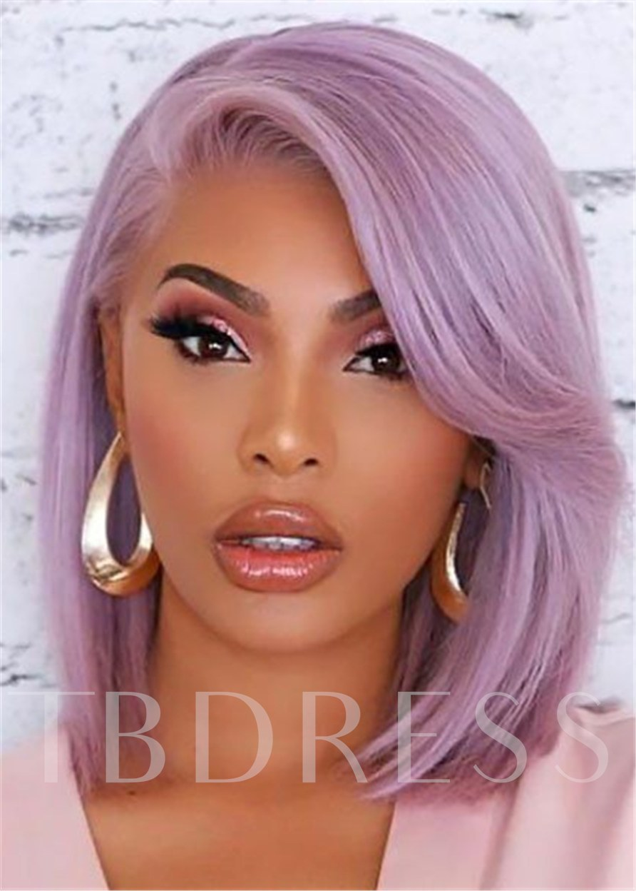Side Part Purple Bob Hairstyle Natural Straight Human Hair Capless Women 14 Inches 120% Wigs