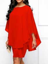 Plus Size Round Neck Patchwork Long Sleeve Above Knee Pullover Women's Dress