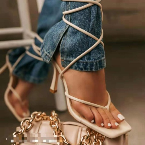 Lace-Up Thong Stiletto Heel Western Sandals