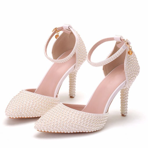 Pointed Toe Beads Slip-On Stiletto Heel Banquet Thin Shoes