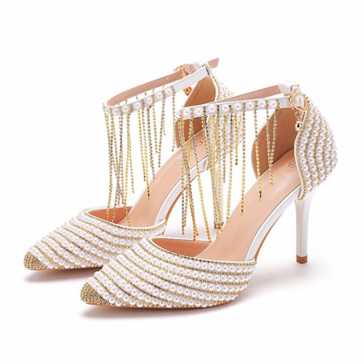 Slip-On Buckle Pointed Toe Stiletto Heel 9.5cm Thin Shoes