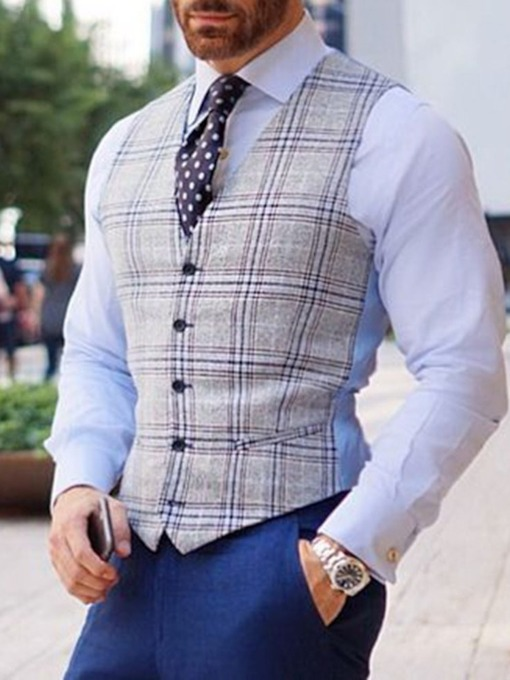 Button Plaid Single-Breasted Men's Waistcoat