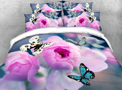 Reactive Printing Four-Piece Set Hand Wash Polyester Bedding Sets