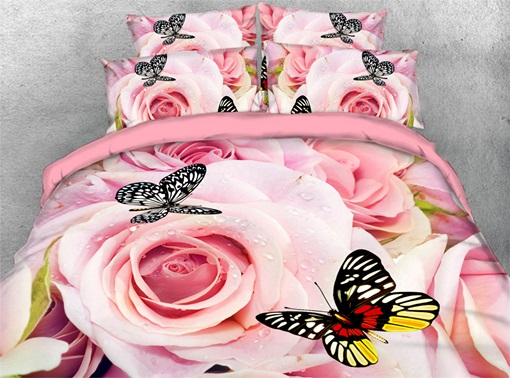 Machine Wash Reactive Printing Four-Piece Polyester Bedding Sets