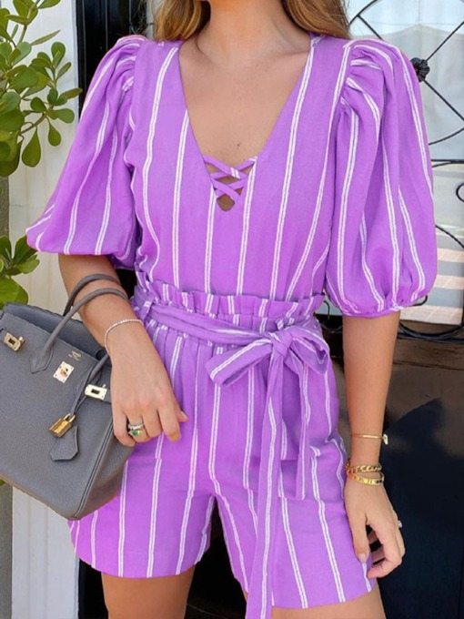 Pocket Office Lady Shirt Stripe Pullover Women's Two Piece Sets