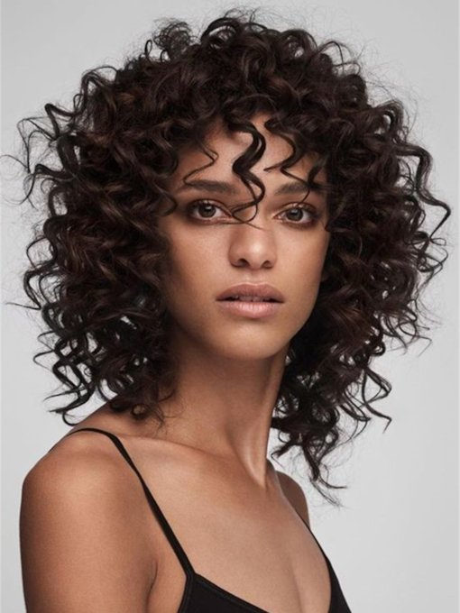 Women's Medium Curly Bob Style Kinky Curly Human Hair 120% 14 Inches Wigs