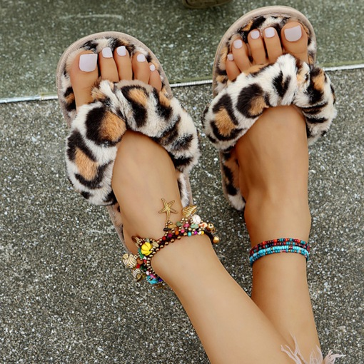 Slip-On Flat With Thong Leopard Slippers