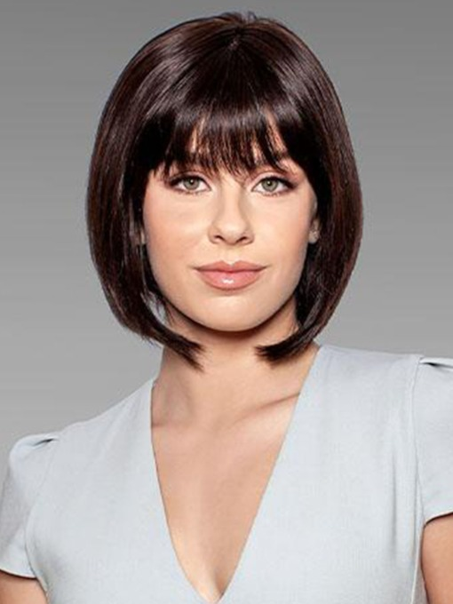 Short Bob Hairstyles Women's Cute Straight Synthetic Hair With Bangs Capless 10 Inches 130% Wigs