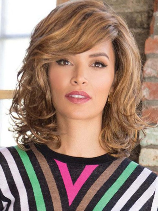Women's Medium Hairstyle Lovely Wavy Synthetic Hair Wigs With Bangs Capless 130% 16 Inches Wigs