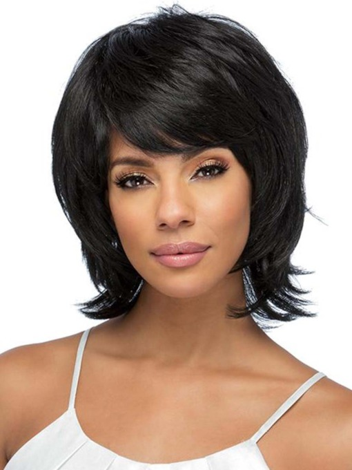 Women's Short Layered Hairstyles Wavy Human Hair Wigs With Bangs Capless 120% 12 Inches Wigs