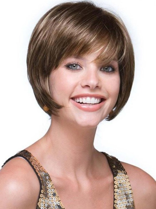Cute Women's Short Bob Style Straight Human Hair With Bangs Capless 8 Inches 120% Wigs