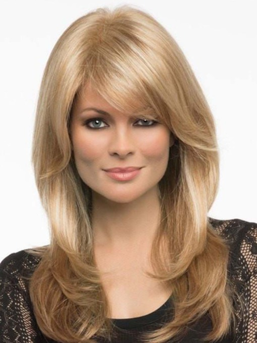 Sexy Women's Long Length Light Brown Blonde Body Wavy Synthetic Hair Capless 24 Inches 130% Wigs