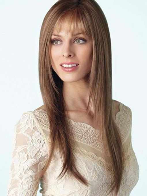 Fashion Women's Long Layered Straight Human Hair Wigs With Bangs Capless 120% 26 Inches Wigs