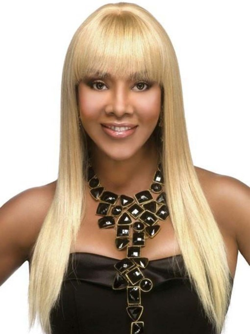 Women's Long Straight Hairstyles Blonde Color Synthetic Hair Capless 24 Inches 130% Wigs