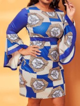 Plus Size Long Sleeve Patchwork Above Knee Round Neck Bodycon Women's Dress