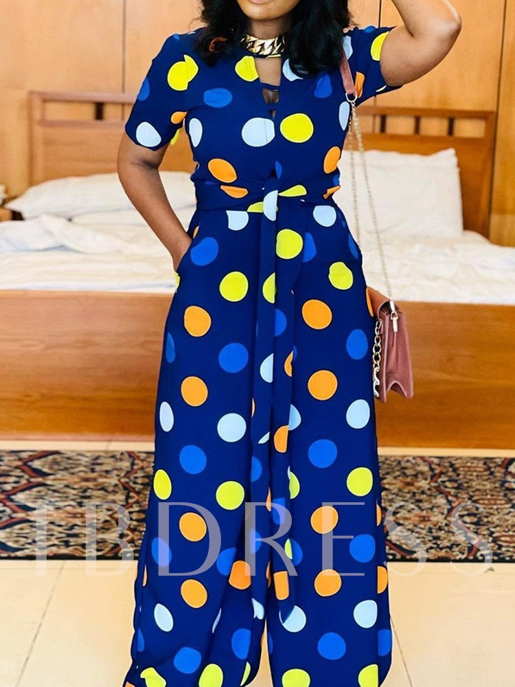 Polka Dots Lace-Up Fashion Full Length Loose Women's Jumpsuit