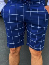 Plaid Straight Lace-Up Shorts Casual Men's Casual Pants