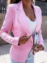 Long Sleeve Notched Lapel Double-Breasted Plain Standard Women's Casual Blazer