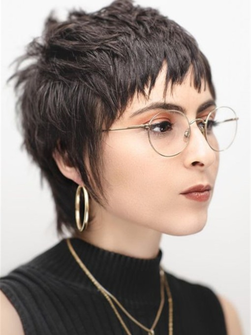 Brunette Cropped Razor Cut Mullet with Human Straight Hair Messy Texture Women's 120% 10 Inches Wigs