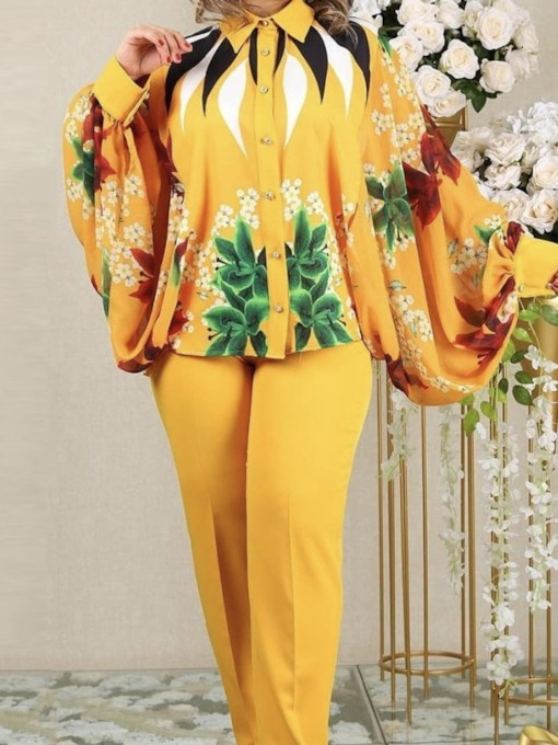 Print Shirt Casual Floral Single-Breasted Women's Two Piece Sets