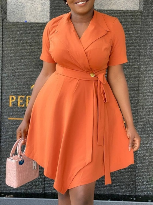 Notched Lapel Lace-Up Short Sleeve Above Knee Office Lady Women's Dress