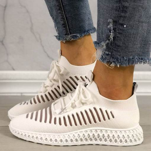 Low-Cut Upper Cross Strap Round Toe Lace-Up Casual Sneakers
