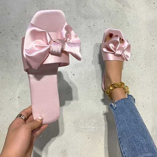 Bow Chunky Heel Slip-On Flip Flop Casual Slippers