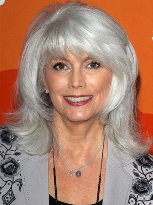 Women's Long Gray Bob Hairstyle Wavy Synthetic Hair Wigs With Bangs Capless 130% 16 Inches Wigs