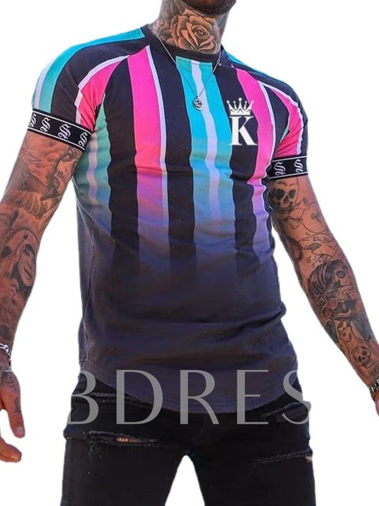 Print Casual Round Neck Pullover Slim Short Sleeves Men's T-shirt