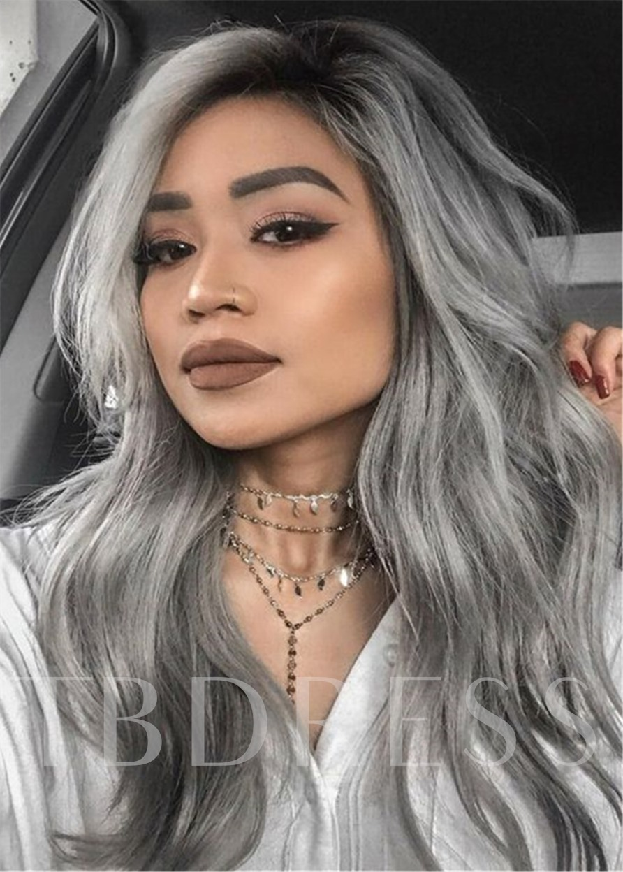 Long Wavy Gray Hairstyle Natural Wavy Human Hair Capless Women 24 Inches 120% Wigs