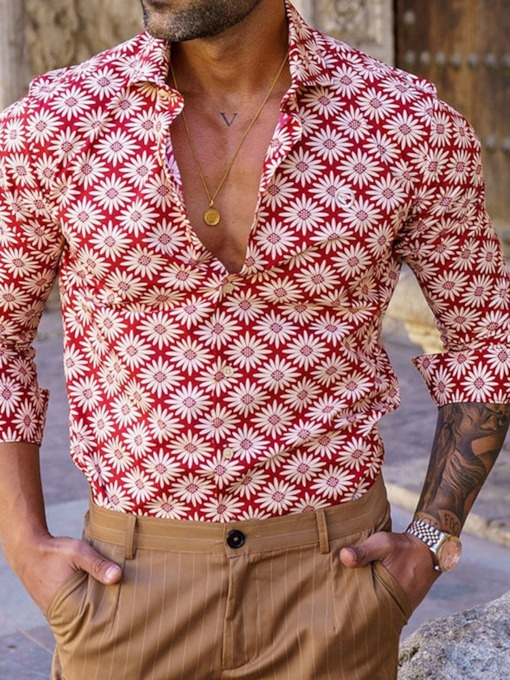 Casual Floral Button Lapel Single-Breasted Men's Shirt