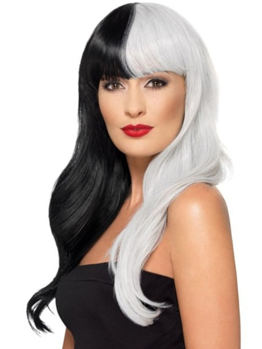 Long Cruella Hairstyle Black and White Synthetic Hair With Bangs Capless 130% 12 Inches Wigs