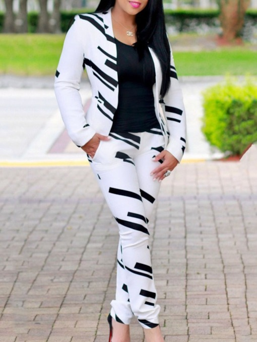 Office Lady Print Pants Straight Women's Two Piece Sets