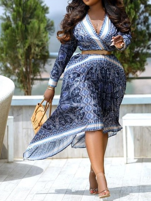 Mid-Calf V-Neck Patchwork Long Sleeve Pleated Women's Dress