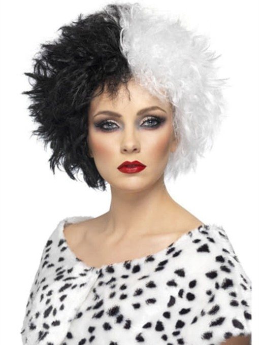 Women's Cruella Wig Hairstyle Black and White Synthetic Hair Wavy 12 Inches 130% Wigs