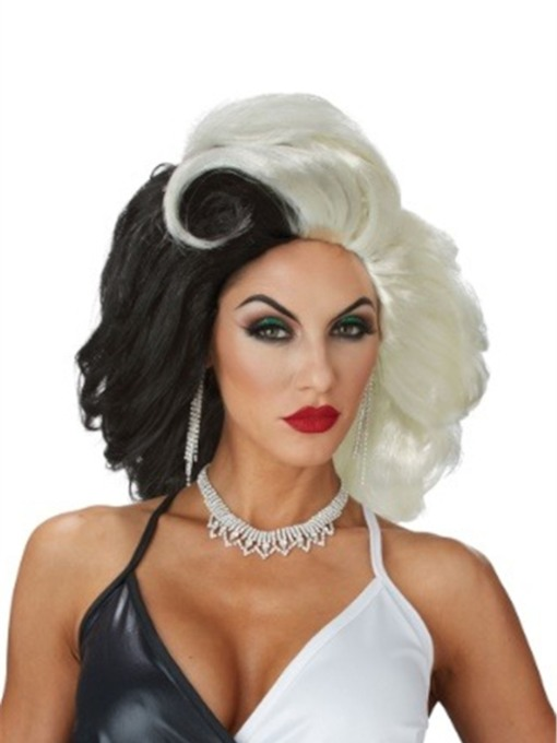 Women's Cruel Diva Hairstyle Black and White Synthetic Hair Cruella 14 Inches 130% Wigs