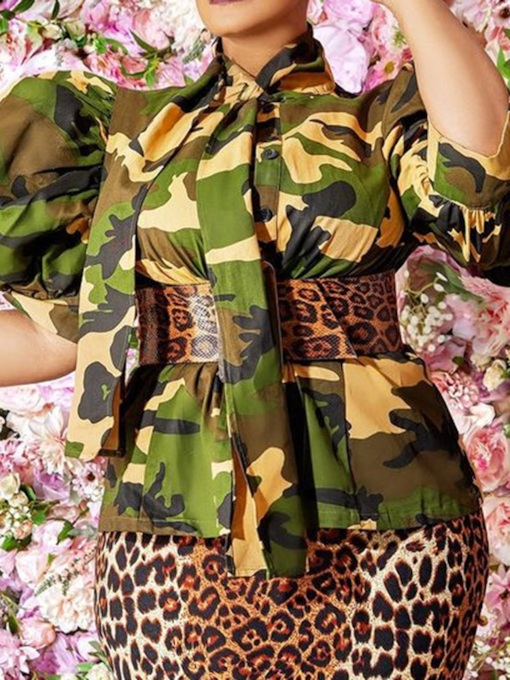 Camouflage Button Three-Quarter Sleeve Women's Blouse