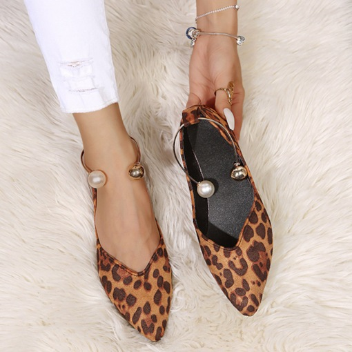 Print Slip-On Pointed Toe Flat With Leopard Thin Shoes