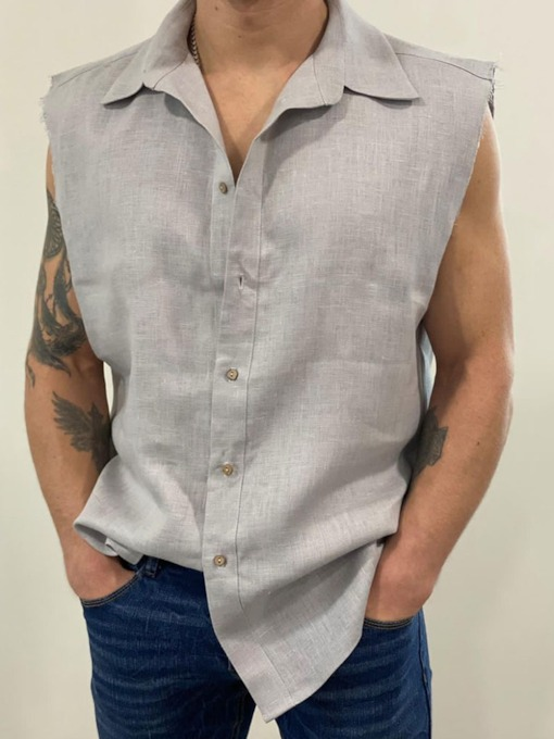 Plain Button Casual Single-Breasted Slim Men's Shirt